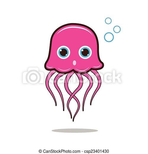 Jellyfish cute cartoon - csp23401430