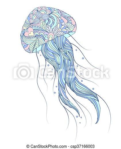 jellyfish on white background - csp37166003