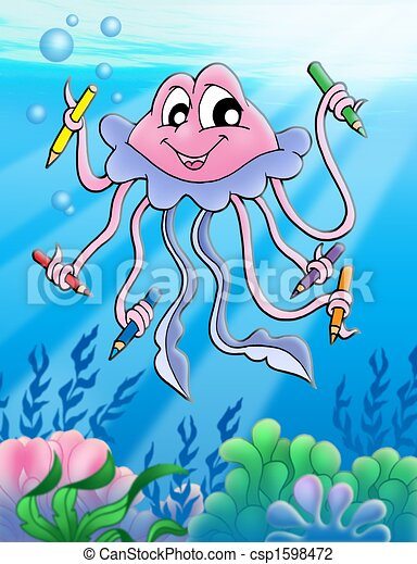 Jellyfish with crayons and bubbles - color illustration ...