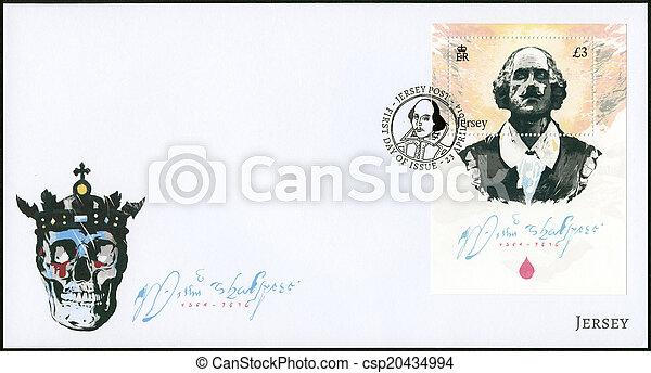 JERSEY - 2014: shows William Shakespeare (1564-1616), 450th birt - csp20434994
