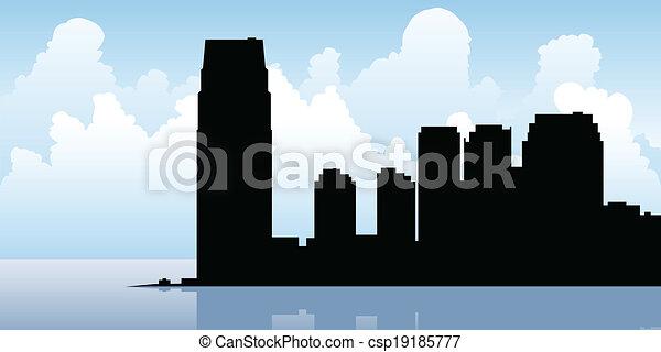 Jersey City Skyline - csp19185777