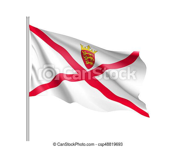 Jersey National Flag Illustration Waving Flag Of Jersey