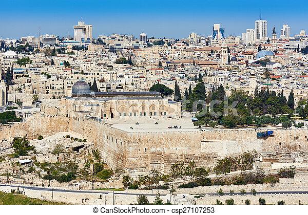 Jerusalem Al-Aqsa view - csp27107253