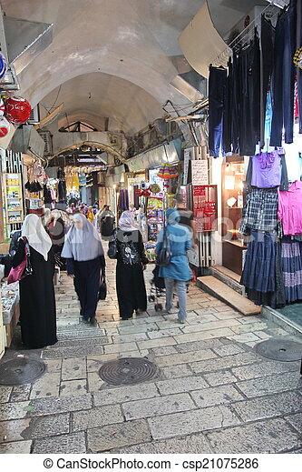 JERUSALEM - OCT 28: Oriental market in old Jerusalem offers vari - csp21075286