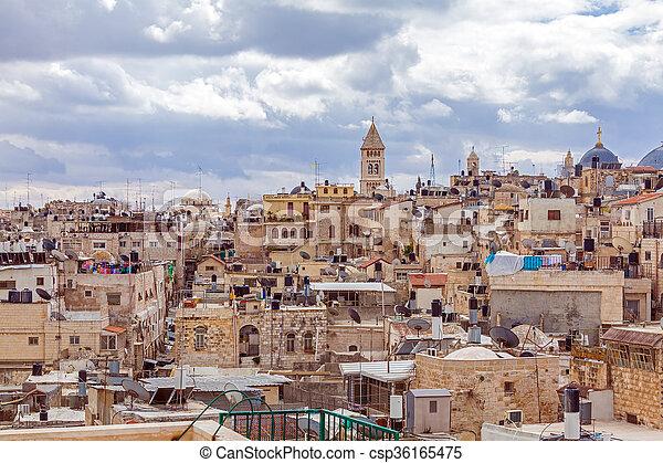 Jerusalem Old City Roofs - csp36165475