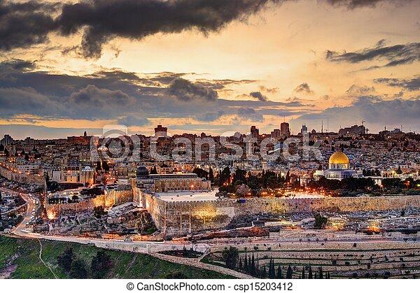 Jerusalem Old City Skyline - csp15203412