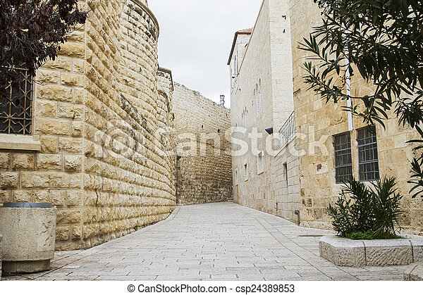 Jerusalem street in the old city . - csp24389853