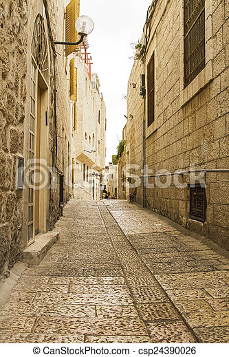 Jerusalem street in the old city . - csp24390026