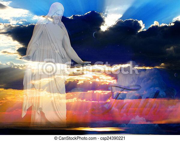Jesús en los rayos de luz de la creación - csp24390221