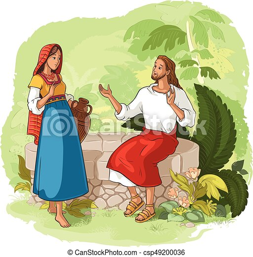 Jesus and the Samaritan Woman at the Well - csp49200036