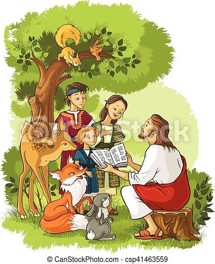 jesus liest die bibel für kinder und tiere. vector cartoon illustration. auch verfügbar