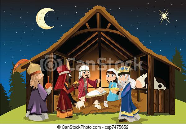 Jesus Christ and three wise men - csp7475652