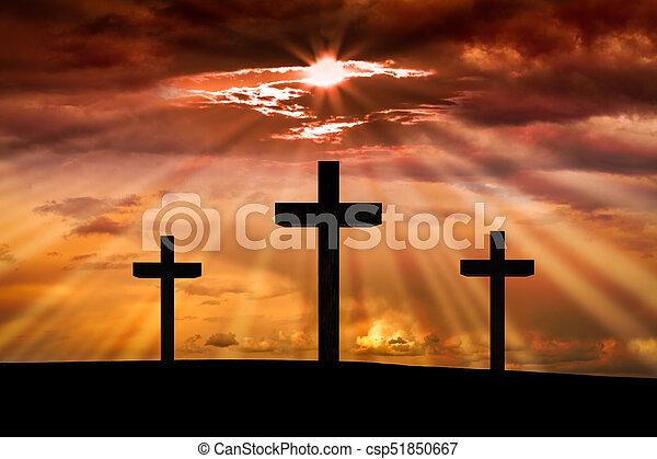 Jesus Christ Cross Scene With Three Crosses On Golgotha Mountain At