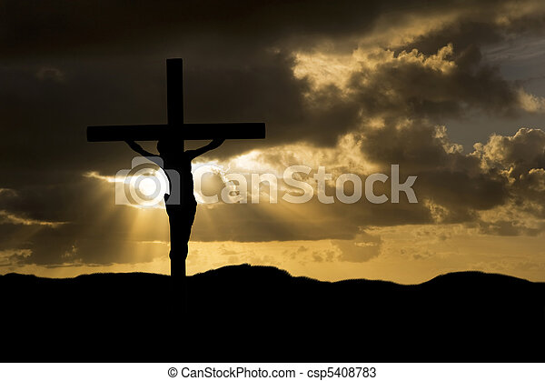 Jesus Christ Crucifixion on Good Friday Silhouette - csp5408783