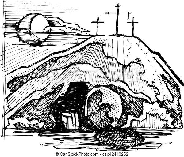 Jesus Christ Empty Tomb   Csp42440252