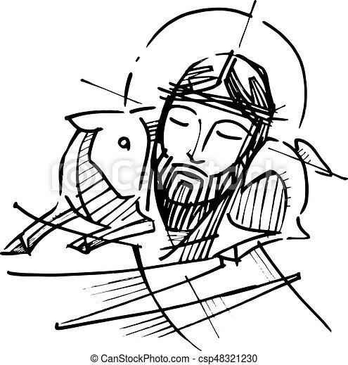 jesus christ good shepherd hand drawn vector illustration As Christ Good Shepherd Painting Jesus Is the Gate