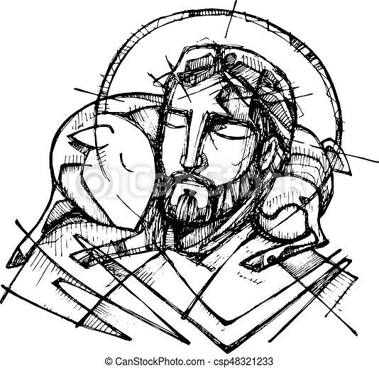 jesus christ good shepherd hand drawn vector illustration Jesus Is the Gate free clipart jesus the good shepherd