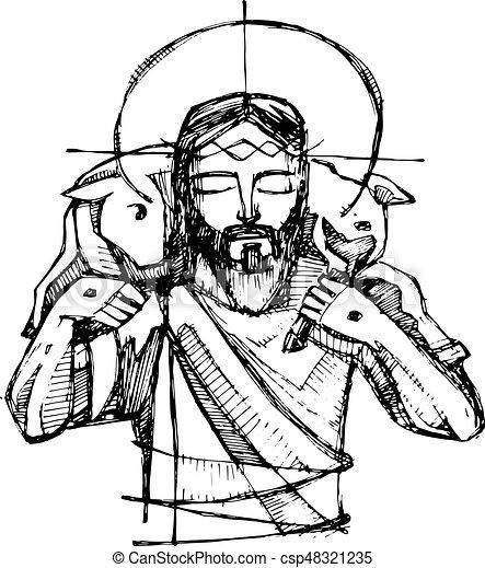 jesus christ good shepherd hand drawn vector illustration Good Shepherd Clip Art Jesus Is the Gate