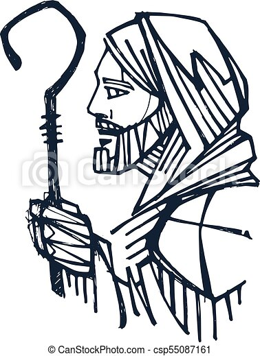 jesus christ good shepherd ink illustration hand drawn ink clip rh canstockphoto com christ clip art free clipart christmas