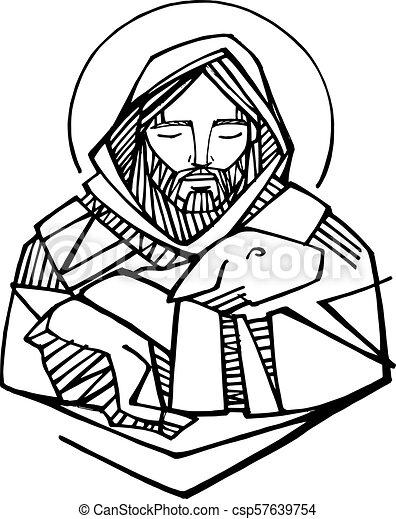 Jesus Christ Good Shepherd Ink Illustration Hand Drawn Vector