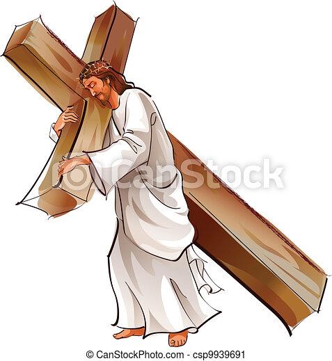 Jesus Christ holding cross - csp9939691