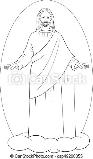 Coloring pages of jesus standing ~ Jesus christ in white robes standing on a cloud with arms ...