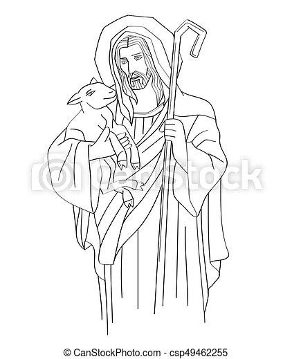 Jesus Christ Is The Good Shepherd Line Art   Csp49462255
