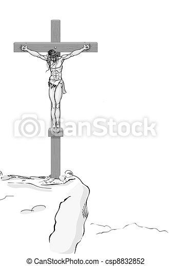 Jesus Christ On Cross Illustration Of Jesus Christ On Cross On White Background Canstock