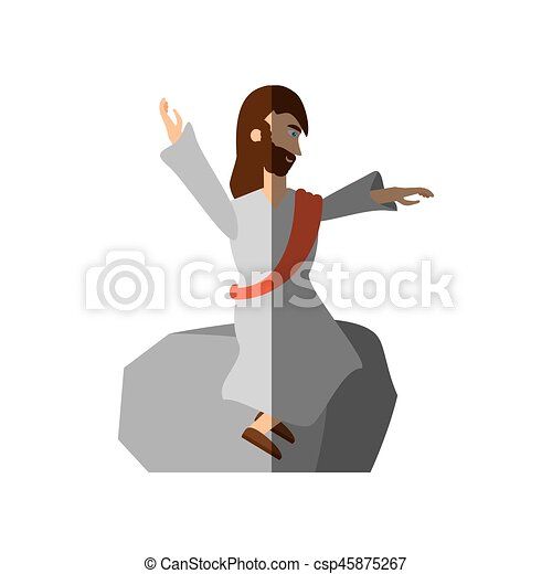 jesus christ preach pray shadow - csp45875267