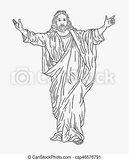 Great Jesus Christ Religion Drawing Style   Csp46576791