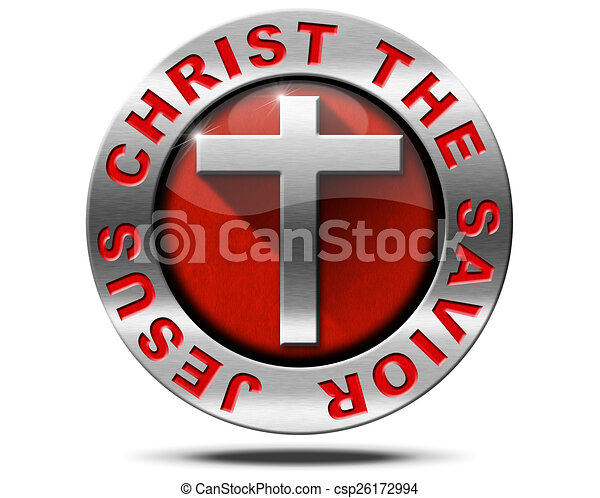 Jesus Christ The Savior Metal Symbol Metal Icon With Cross On Red