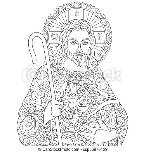Jesus Christ With A Lamb Portrait Of Christian Biblical Character Coloring Page For Adult Colouring Book