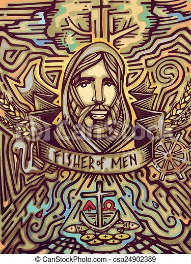 Jesus Fisher Of Men Hand Drawn Vector Illustration Or Drawing Of A