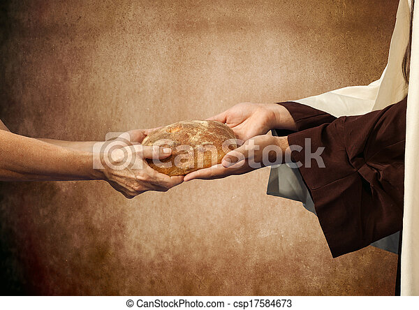 Jesus gives the bread to a beggar. - csp17584673