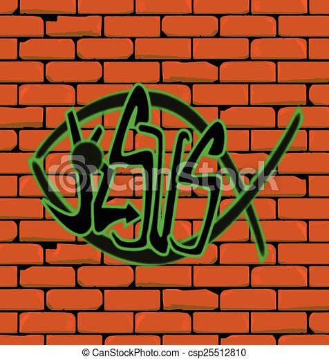 Graffiti Depicting A Christian Fish On Brick Built Wall With The Word Jesus