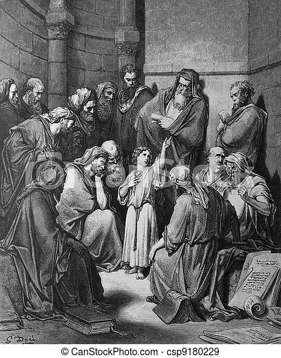 Jesus in the temple among the teach - csp9180229