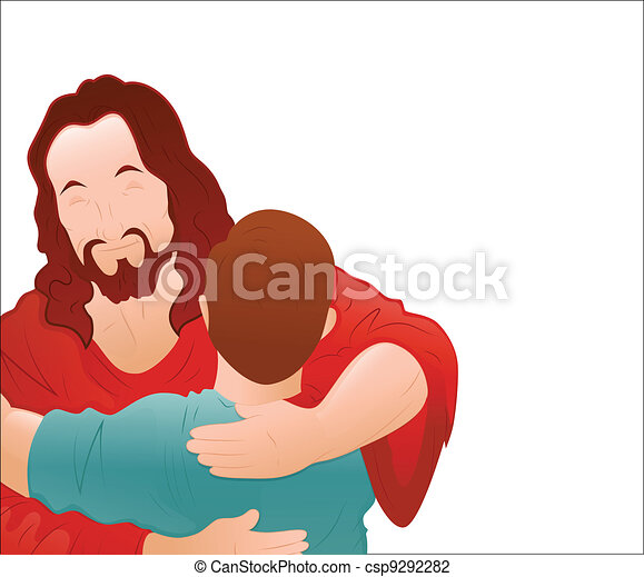 Jesus Loving a Young Boy Vector - csp9292282