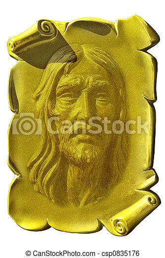 Jesus on a golden plaque - csp0835176