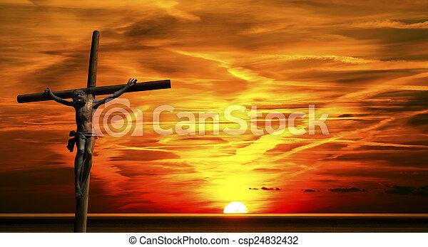 Jesus on the Cross at Sunset - csp24832432