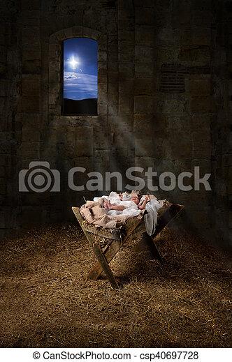 Jesus on the Manger - csp40697728