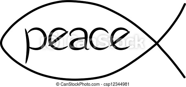 jesus peace fish illustration of a jesus fish with peace vector rh canstockphoto com