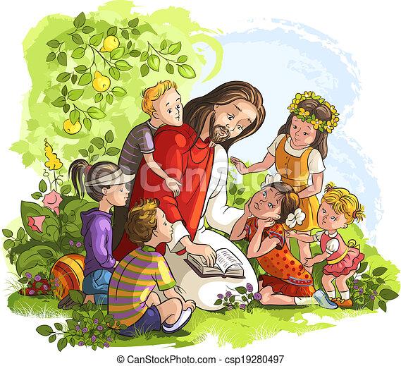 Jesus reading Bible with Children - csp19280497