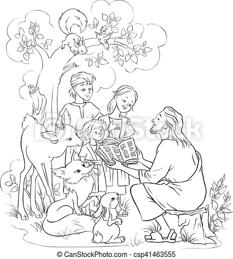 Jesus reading the bible to children coloring page. Christian ... | 470x420