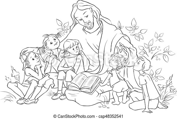 Jesus reading the bible to children coloring page