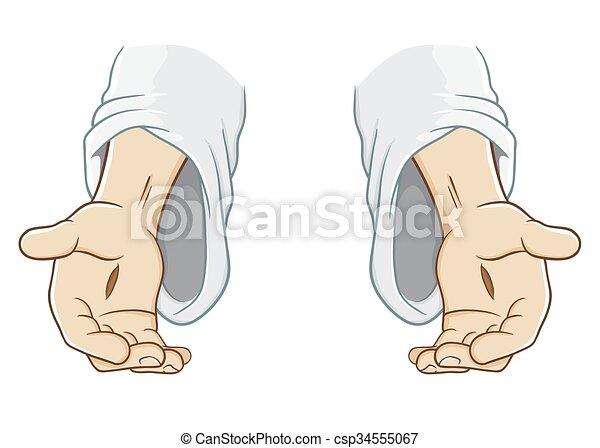 jesus, saída, christ, alcançar, mão - csp34555067