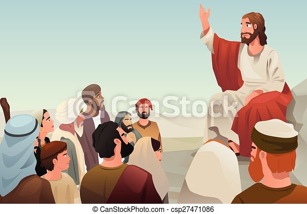 Jesus spreading his teaching to people - csp27471086