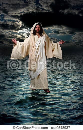 Jesus Walking on the water - csp0548937