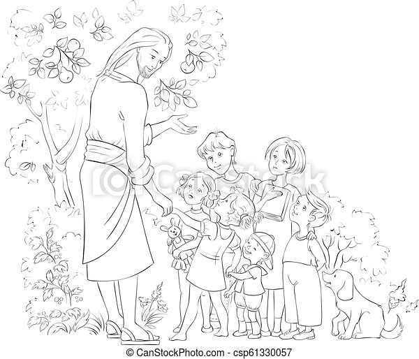 Jesus With Children Coloring Page. Vector Cartoon Children Christian Coloring  Page. Also Available Colored Version. CanStock