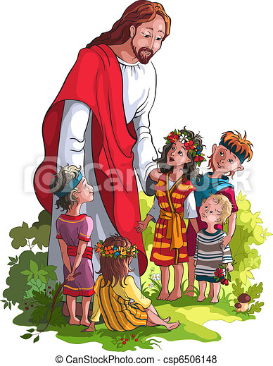 jesus with children no gradients isolated on white background rh canstockphoto com Angry Clip Art of Jesus Baby Jesus Clip Art