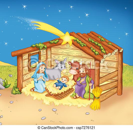 jesus s birth colored illustration of the birth of jesus child